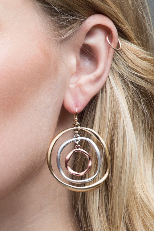 Time Again Three-Layered Mixed Metal Satin Ring Dangle Hook Earrings