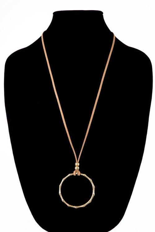 Crazy For You Bamboo Pendant Necklace with leather necklace, Gold