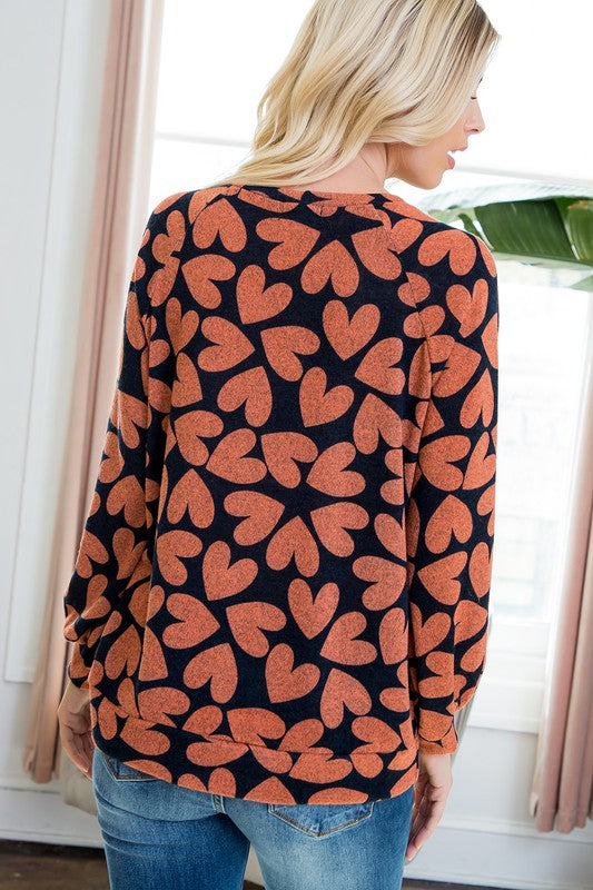 Queen Of Hearts Round Neck Long Sleeve Heart Print Sweater, Rust & Navy
