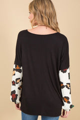 We All Are One V Neck Print Puff Sleeve Top with Contrast Arms