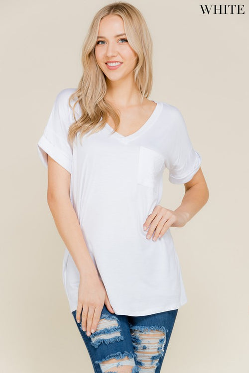 All My Days V Neck Boyfriend Pocket Tee, White, S-L