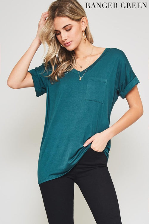 All My Days V Neck Boyfriend Pocket Tee, Ranger, S-L