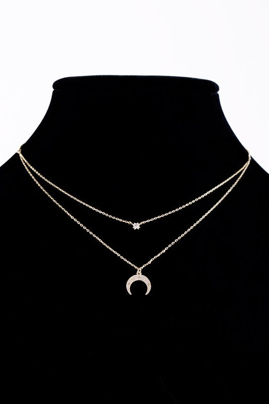 Beloved Life Double layer Cubic Zirconia & Crescent Charm with Dainty Chain short necklace