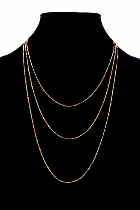 "Layered 36"" Metal Chain Necklace, Silver or Gold"