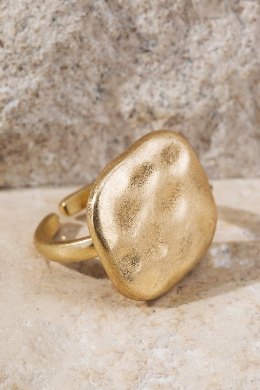 Square Hammered Metal Gold Toned Adjustable Ring