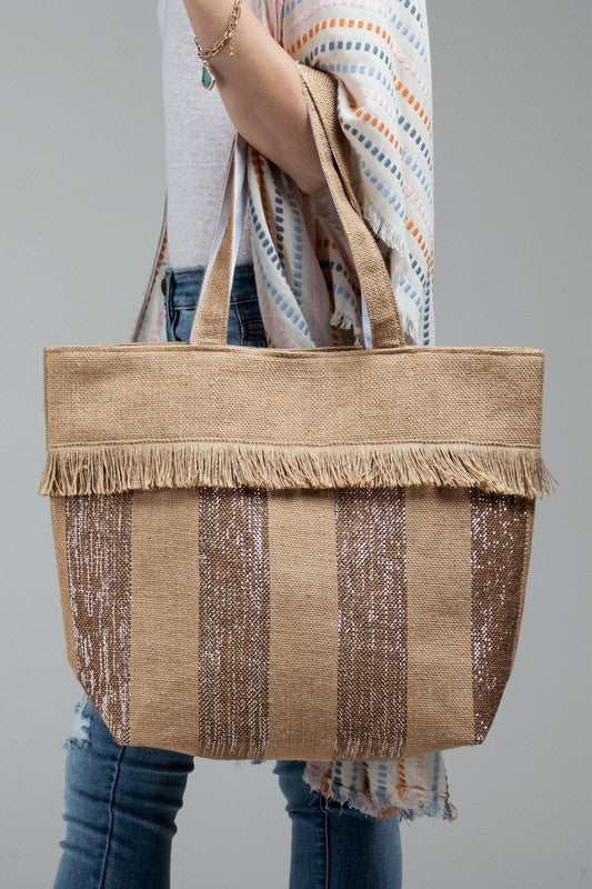 Take Me Away Basket Weave Jute & Metallic Stripe Tote, Gold
