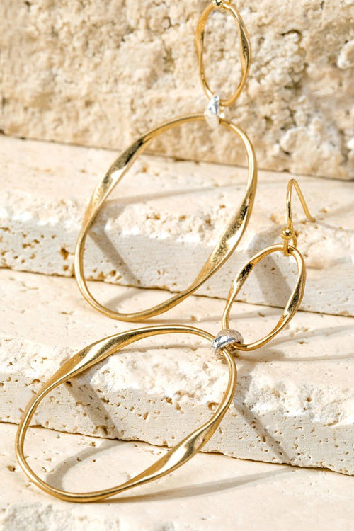 Double Link Earrings with Gold Detail, Gold