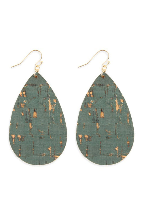 Fall Affair Cork Teardrop Dangle Earrings with Gold Accents