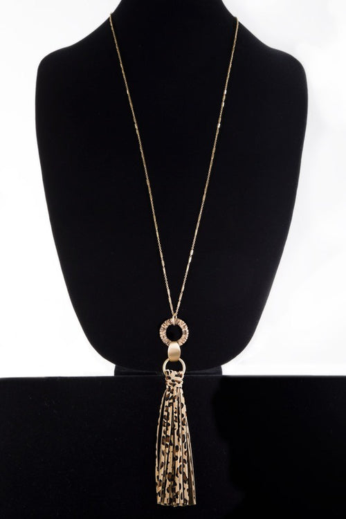 Animal Print Faux Leather Tassel Necklace