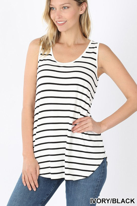 Everyone Needs One Striped Tank with Curved Hem, S-XL, White