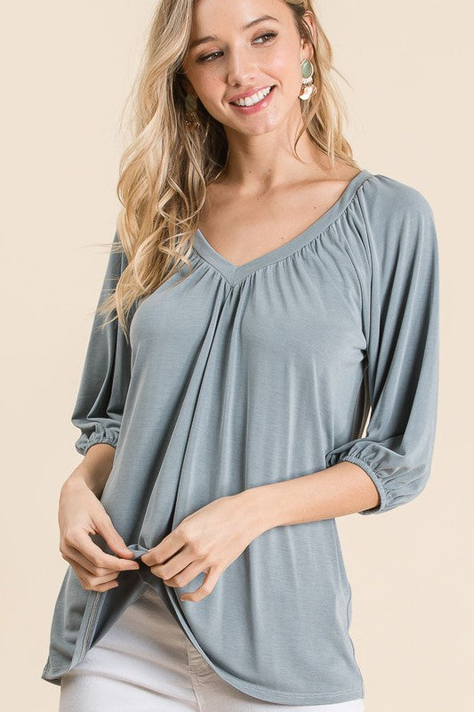 Wake Up In The sky Modal Jersey V Neck Top with Shirring, Slate Grey S-XL