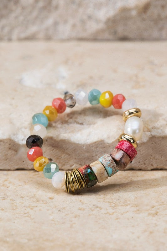 Stretchy Brass Shimmery Glass & Natural Stone Bead Rings