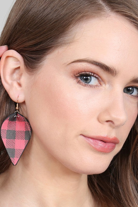 Move Over Plaid Pinched Leather Earrings, Black & Red