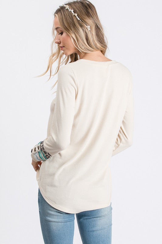We Belong Color Block Button Detail Top with Striped Cuff Detail, Cream