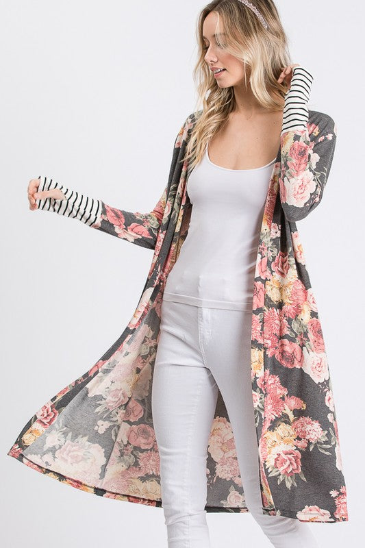Shadows Of The Night Maxi Cardigan w/ Striped Cuffs, Thumbholes, and side pockets