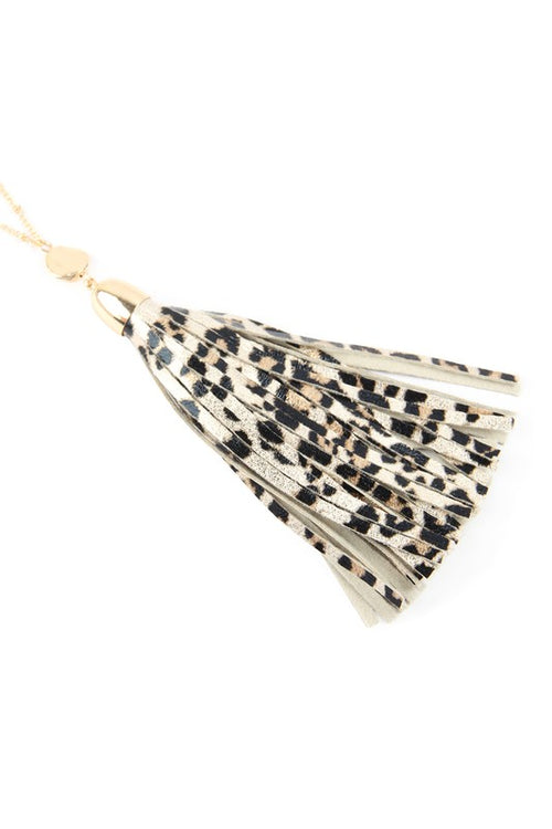 Fabulous Day Animal Print Leather Tassel Necklace, Gold