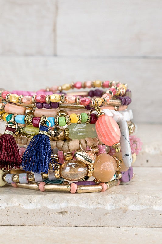 All That Glitters Multi-Layered 12 Strand Bracelet Set
