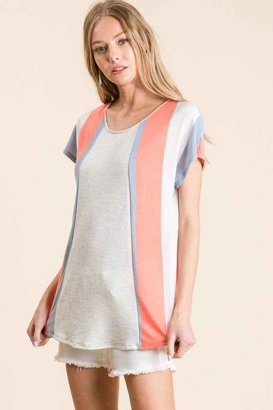 Summer of Love French Terry Multi Vertical Stripe Knit Top, Coral  S-XL