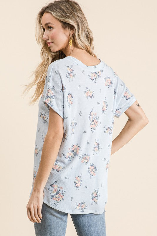 Blue Floral Print V-Neck Tunic, S-XL