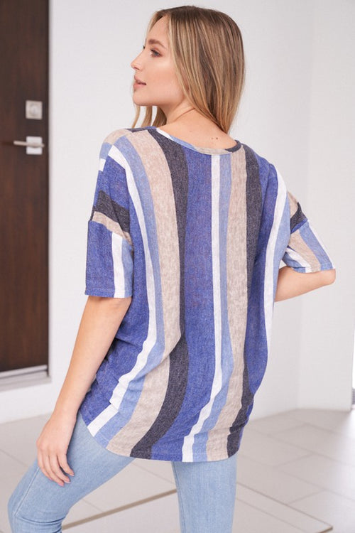 Multi Color Stripes Knit Top with Fitted Hem & Dolman 1/2 Length Sleeves, S-XL