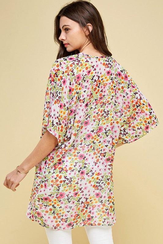 Short Sleeve Floral Dizzy Print Kimono Sleeve Open Cardigan, S-XL, Mint