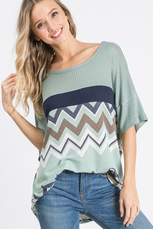 This One's For The Girls Knit Color Block Top with Chevron Design
