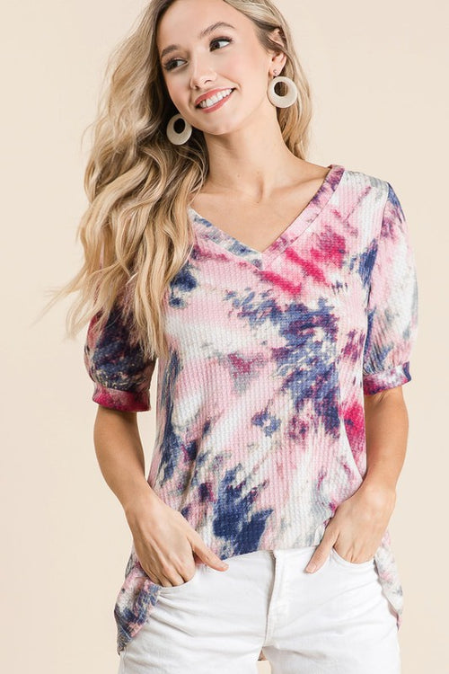Tie Dye Thermal Waffle V Neck Tunic with Puff Sleeves, Indigo/ Purple/ Pink, S-XL