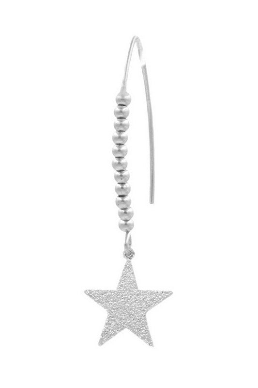 "Metal Star Charm Threader Earrings drop length2"", Silver"