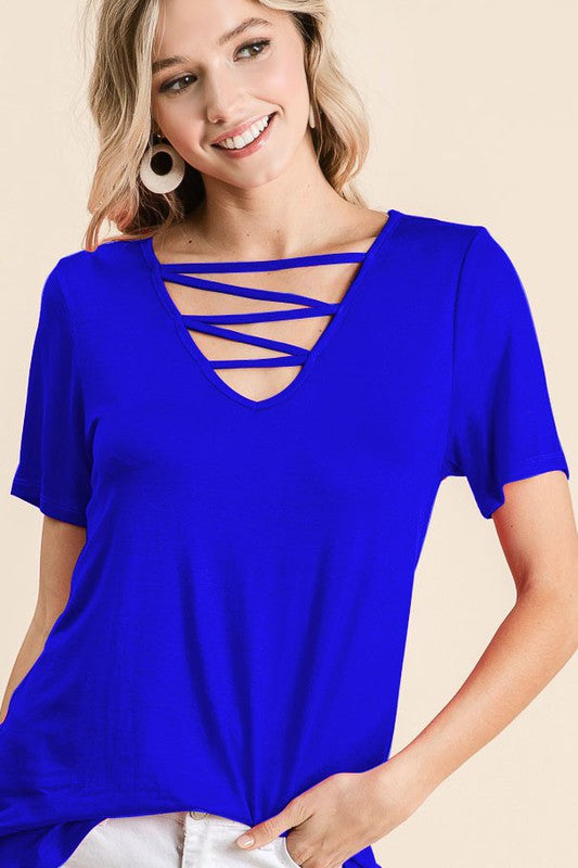 Jersey Knit V Neck Top with Cage Neck Detail, Blue,  S-XL