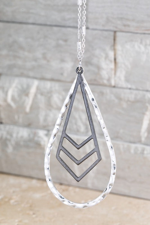 Influence Hammered Metal Open Layered Teardrop Necklace