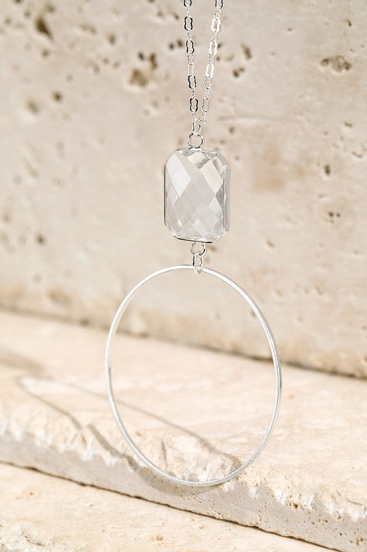 Glass Tear Drop Pendant Necklace