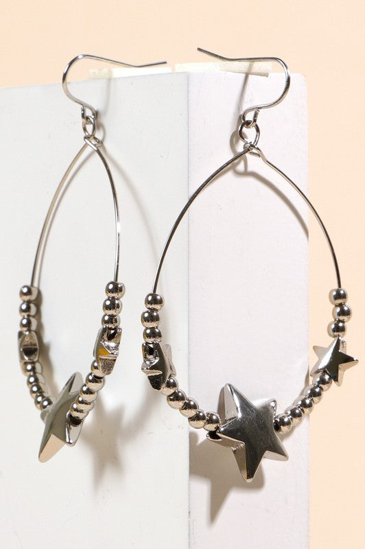Teardrop-shaped wire metal earrings with metal beads and star charms, Silver