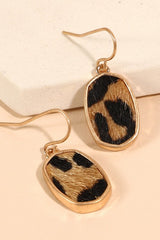 "Animal Print Calf Hair PU Leather Earrings, Approximately 1"" Gold"
