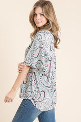 Goodbye Blue Sky Paisley Printed Bulgari V Neck Short Sleeve Top, S-XL, Sage