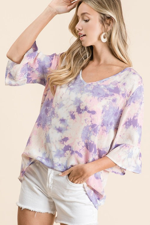 Tie Dye Rayon V-Neck Top with Ruffled 3/4 Cuff Sleeves / Purple & Pink, S-XL