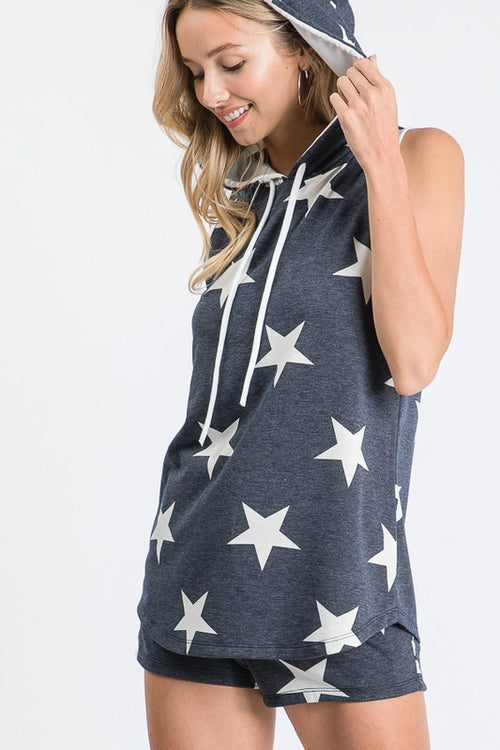 This Kiss Star Print Sleeveless Top with Hood & Drawstring neck S-XL, Navy