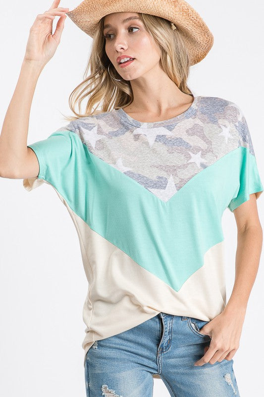 Back to You Camo Short Sleeve Chevron Top S-XL, Mint
