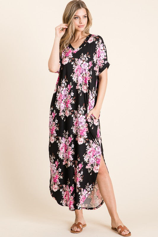 Short Sleeve Casual Floral Print Maxi Dress with Bright Florals & Pockets, Black S-XL