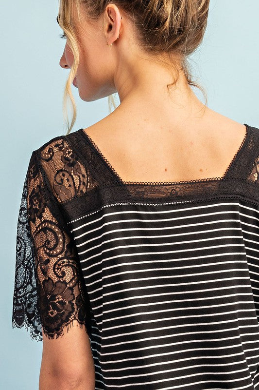 Lace Trim Striped V-Neck Top with Back Detail, S-L
