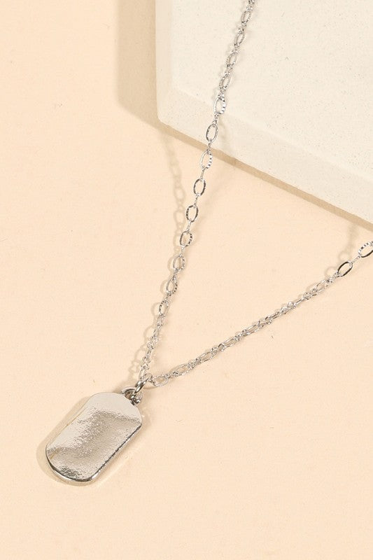 Name Tag Metal Pendant Short Necklace, Silver