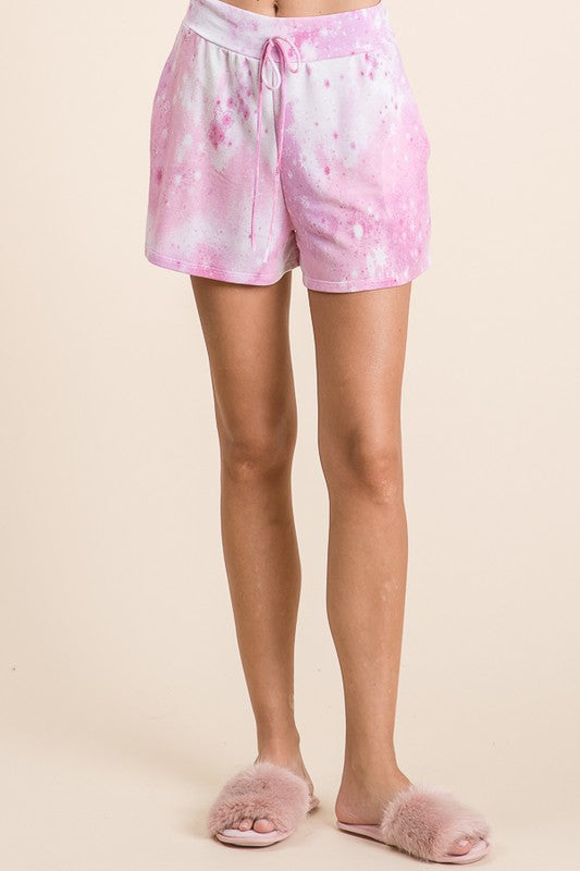 Pink Tie-Dye with Mini Star Detail Lounge Shorts with Side Pockets & Faux Drawstring S-XL