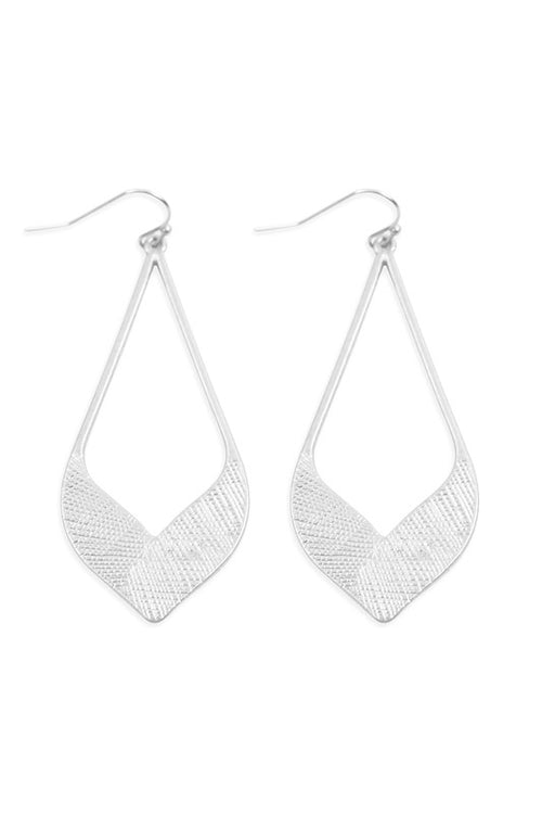 Can't Be Tamed Open Marquise Textured Matte Metal Hoop Earrings, Silver