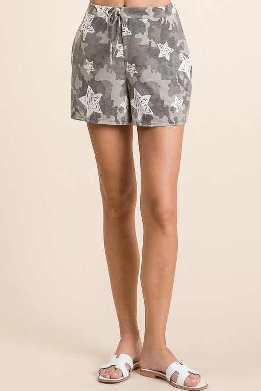 Go For Cozy Camo Print Lounge Short with Pockets, S-XL