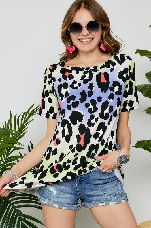 Oversized Cow Print Multicolored Ombre Short Sleeve Tunic Top, S-L