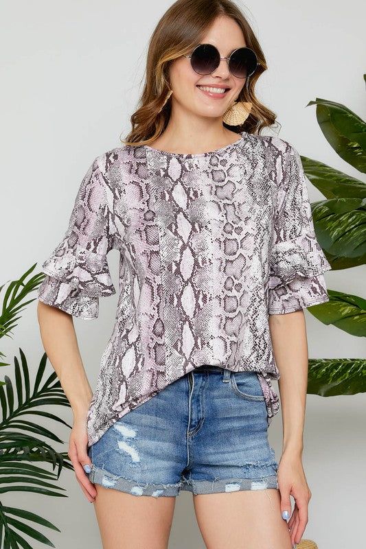 Snakeskin Boat Neck Top with Double Ruffle Sleeve Top, Purple, S-L