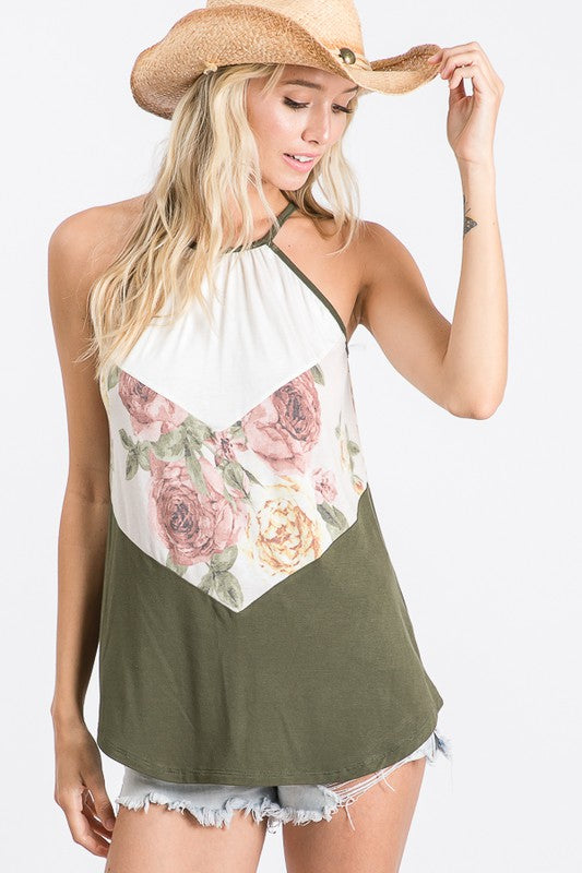Chevron Color Block Halter Tank Top, Olive, Floral, White S-XL