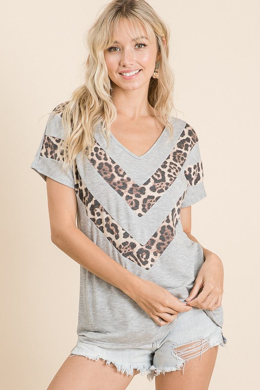 Super Soft French Terry Animal Chevron Knit Top, Gray, S-X