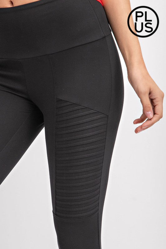 Time is Mine Moto Microfiber High Waist Yoga Band leggings, Black