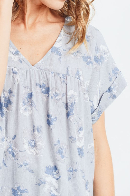 Women's Front Shirring Detailed Top With Folded Sleeves, Blue Floral, S-XL