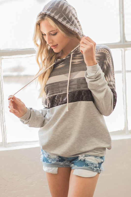 What A Girl Wants French Terry Colorblock Aztec Print Hoodie Sweatshirt with Black Sequin Detail